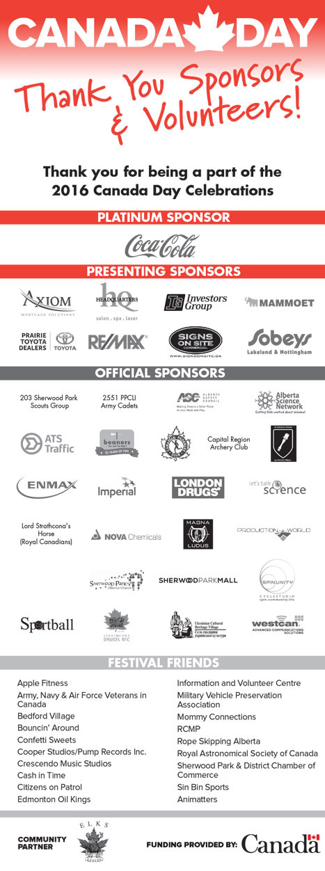 2016 canada day sponsors