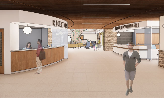 County Hall architectural rendering showing future state of lobby