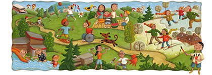 Illustration of kids and adults playing outdoors
