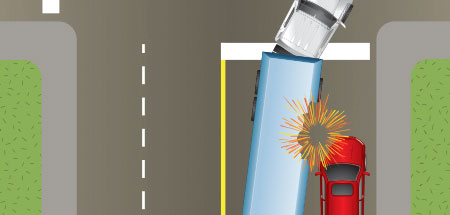 Image showing what can happen if you try to pass a turning semi on the right hand side