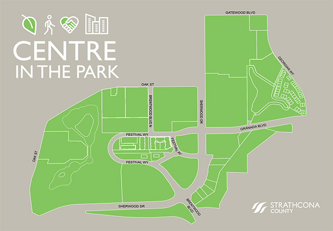 The Centre in The Park Area Redevelopment Plan encompasses the Community Centre and adjacent public lands and commercial use lands.