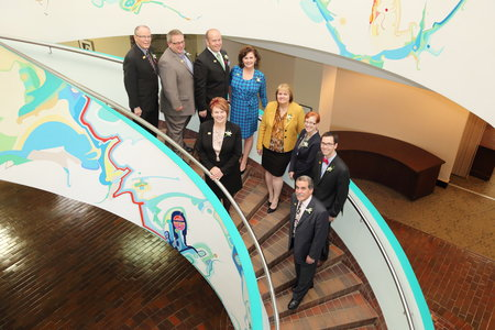 Photo of Strathcona County Council on staircase in County Hall
