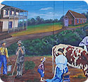 Painting: mural representing early community