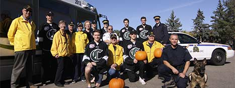 Staff from Enforcement and Transit with members of Sherwood Park Crusaders