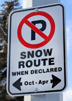 Snow route when declared sign