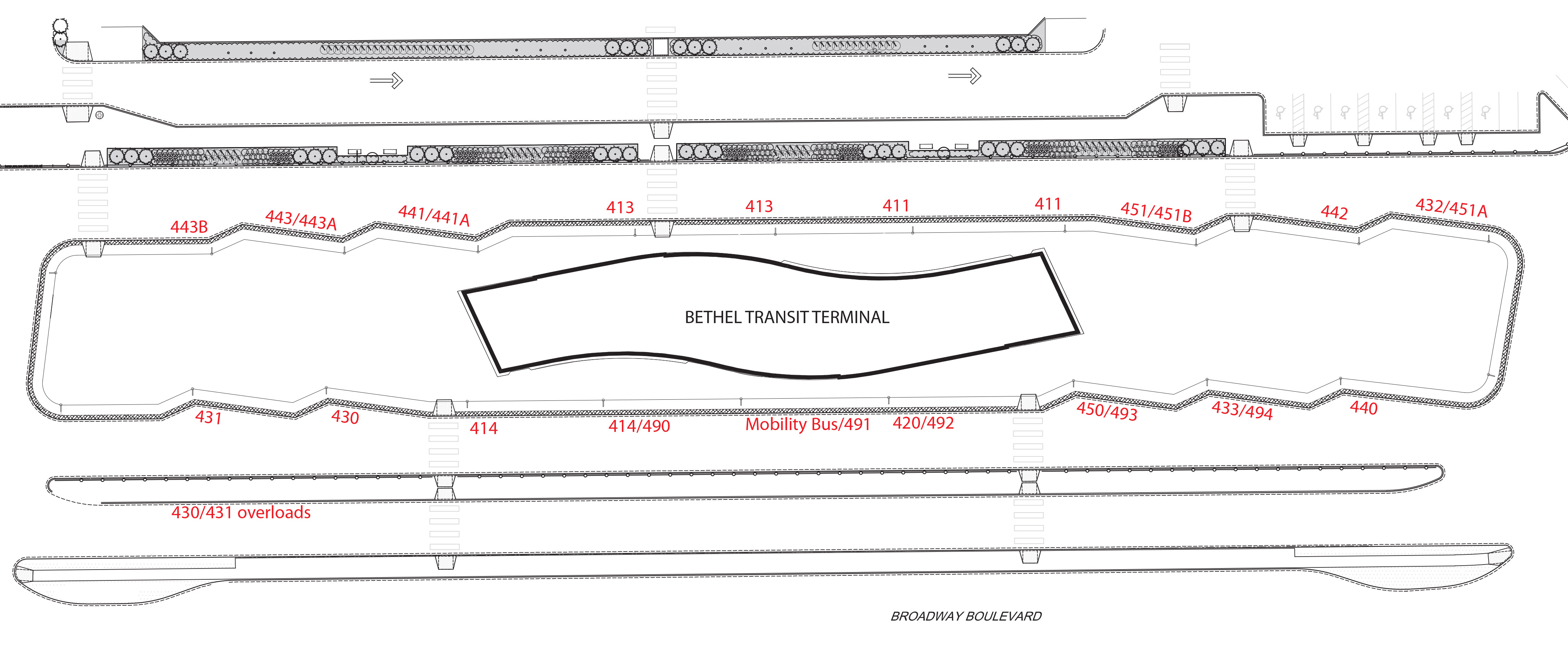 Map of Bethel Transit Terminal bays with corresponding route assignments.