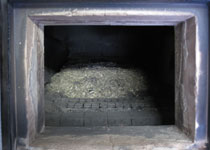 Wood chips inside the unit