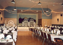 Hall with stage decorated for an event