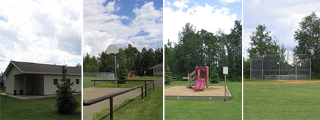 Antler Lake park, ball diamond, hall, basketball net
