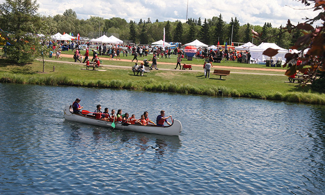 Voyageur Canoes at Canada Day Festival