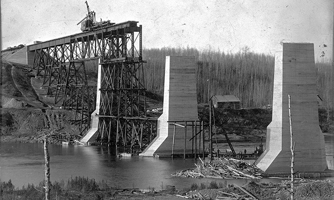 View of the Grand Trunk Pacific Clover Bar Bridge being constructed, October 1908, Strathcona County collection