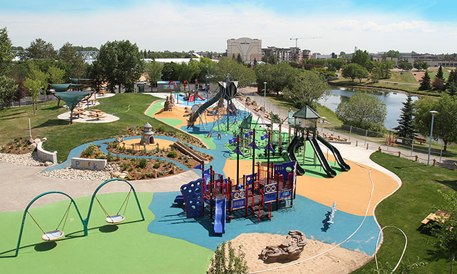 RE/MAX Spray Park and Playground in Broadmoor Lake Park, Sherwood Park