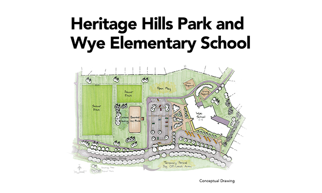 Conceptual Drawing of Heritage Hills Park and Wye Elementary School