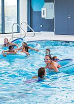 Kids during free swim
