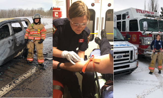 Ione is a full-time Firefighter/Paramedic with Strathcona County