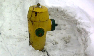 Snow cleared from around a fire hydrant