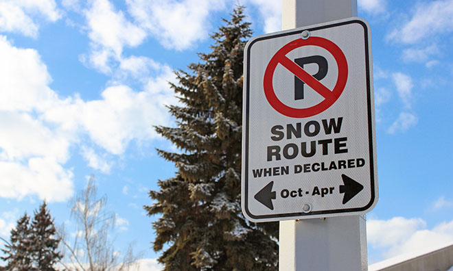 Snow route parking ban declared for 12 noon December 3