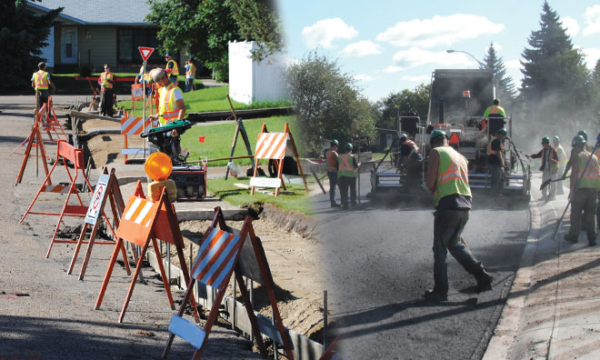 Image showing construction workers working alongside traffic on road.