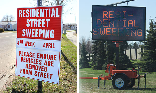 Image showing the signs around the County announcing street sweeping.
