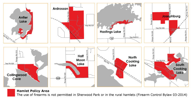 Small versions of the maps showing the Urban Service areas in Strathcona County where the discharge of firearms is controlled