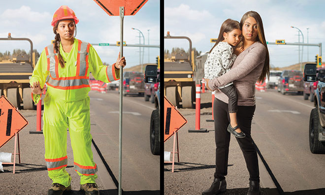 Dual image of construction worker with child and at worksite.