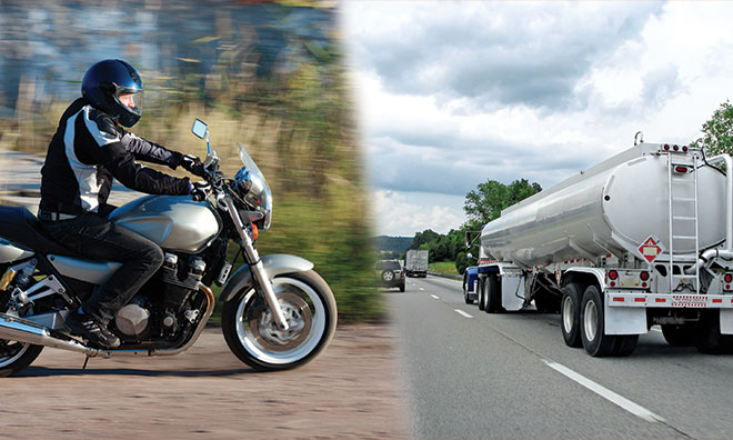 Composite image showing a motorcyclist and a commercial truck