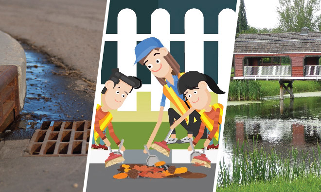 Image of a storm drain on a road, an illustrated family cleaning a drain and a stormwater pond.