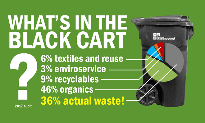Only 36% of items found in the black cart are actual waste.